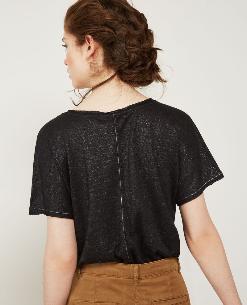 Sparkly linen t-shirt with lurex details Noir City
