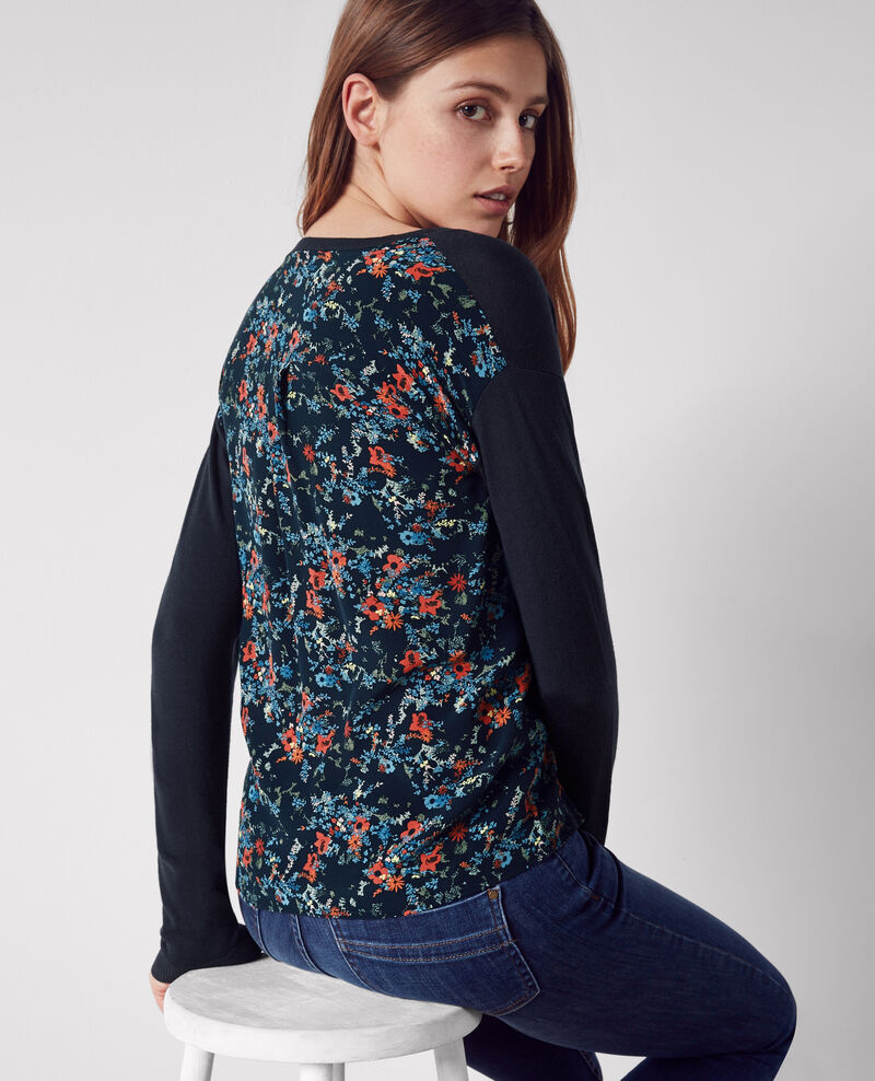 Dual-fabric jumper in wool with a printed silk back Dark ocean Condor