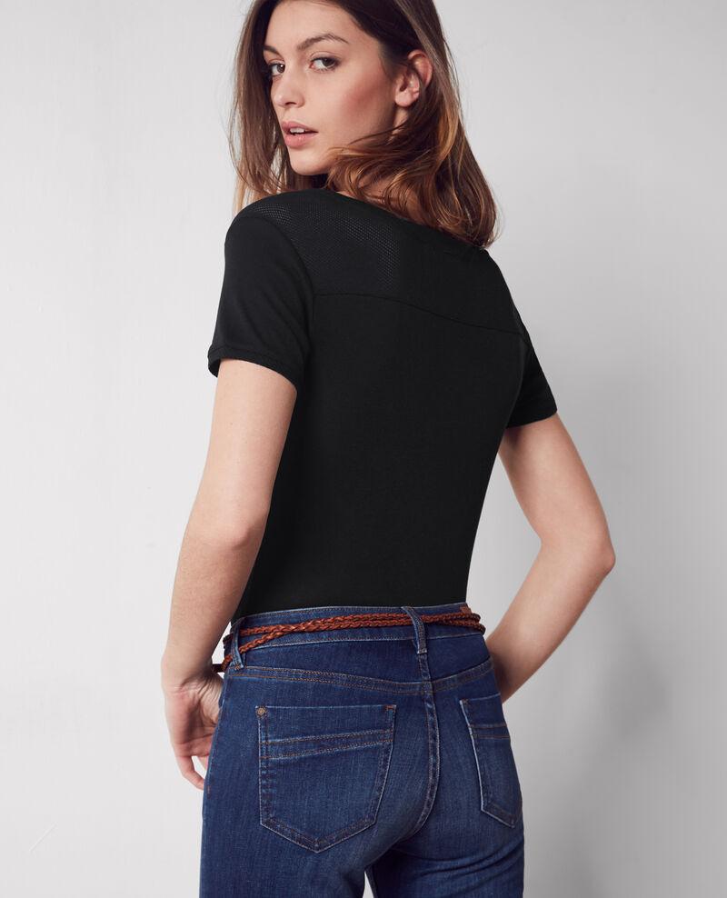 Camiseta con detalles calados Noir Colombia