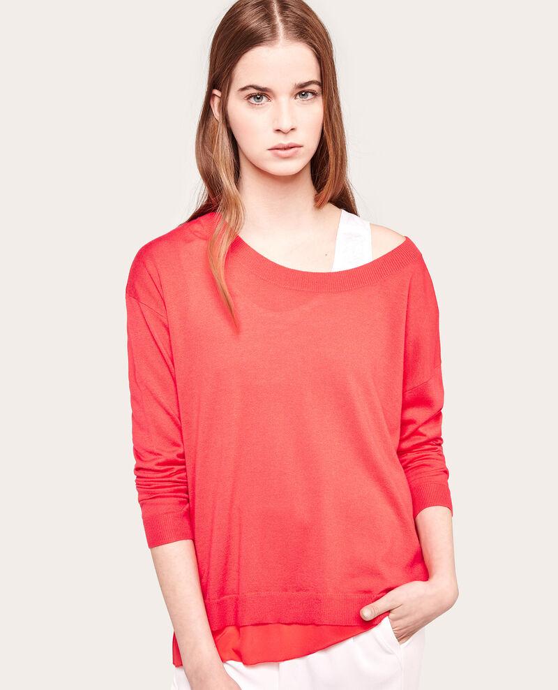 Jersey de dos tejidos: punto y seda Blush Alpiste