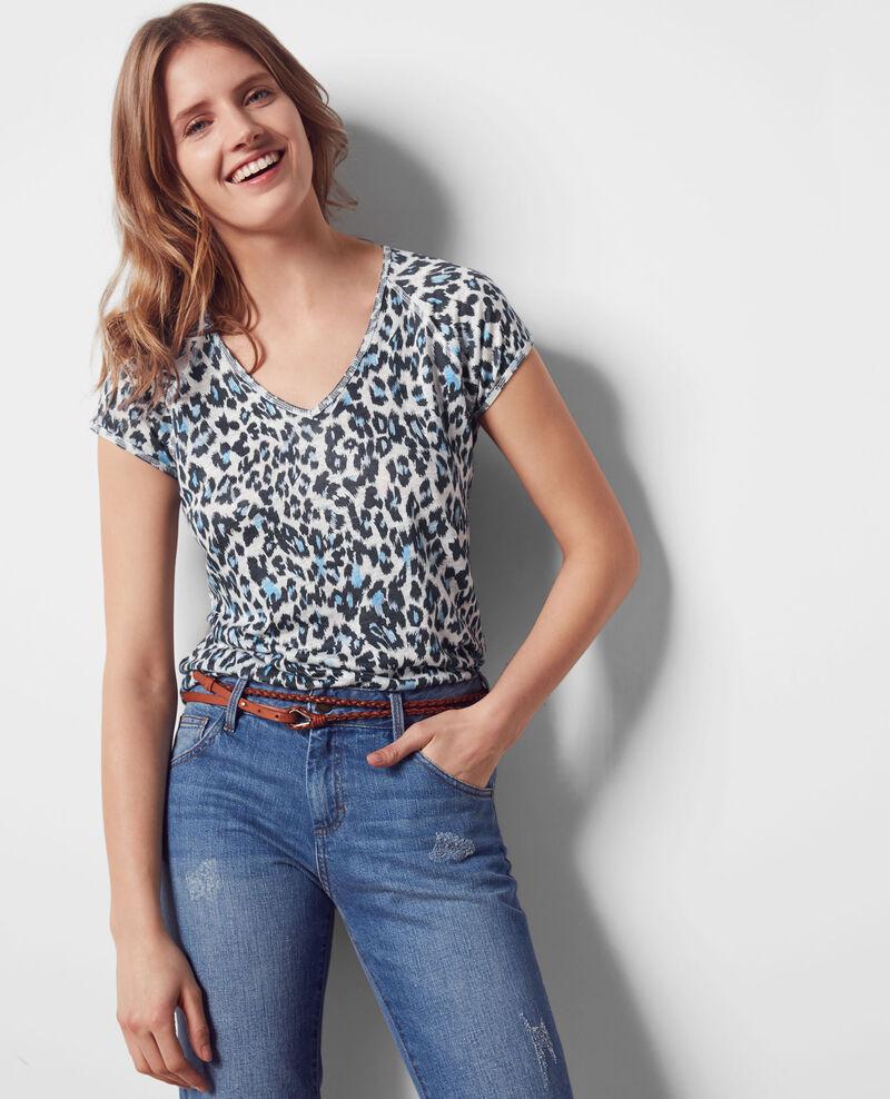 Gemustertes Leinen-T-Shirt Wild panthere Curacao
