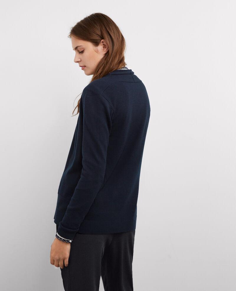 Cárdigan de media longitud con lana Dark ocean Baryton