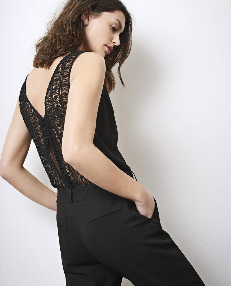 Combinaison avec dos en guipure Noir Carole