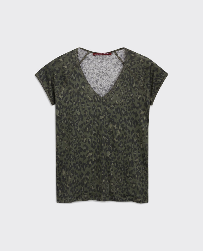 Gemustertes Leinen-T-Shirt Wild panthere dark kaki Curacao