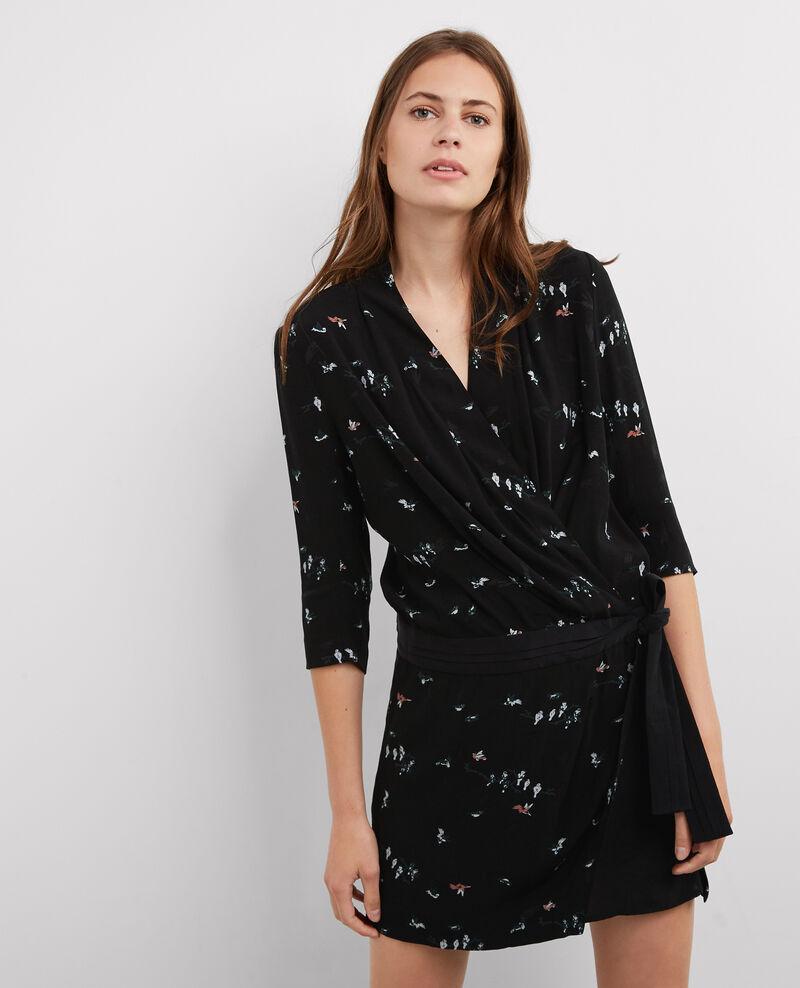 Vestido estampado con escote cruzado Birdy noir Bigup