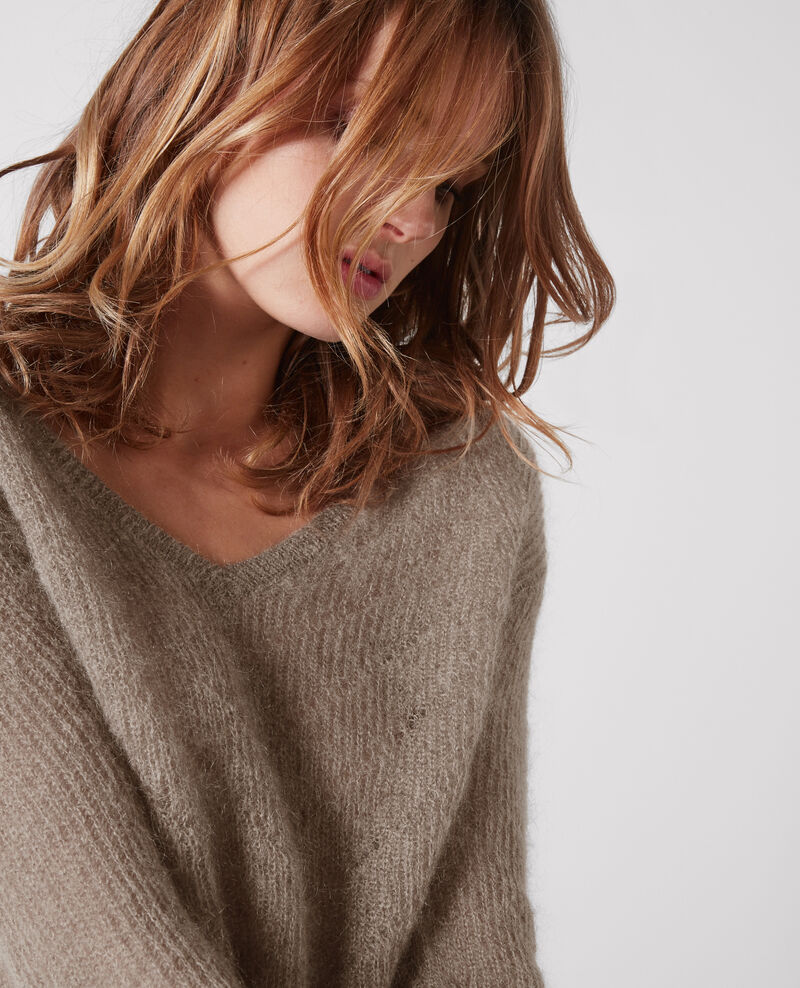 Jumper with mohair and wool Moka Cookie