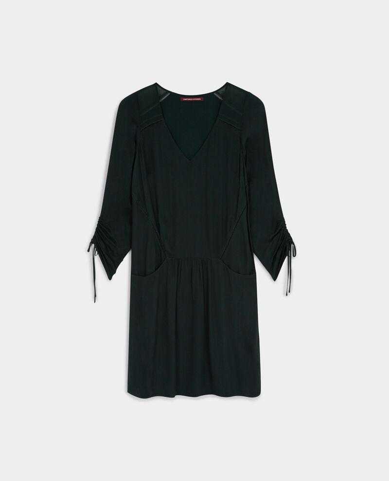 Vestido suelto de dos tejidos Dark hunter green Baretouni