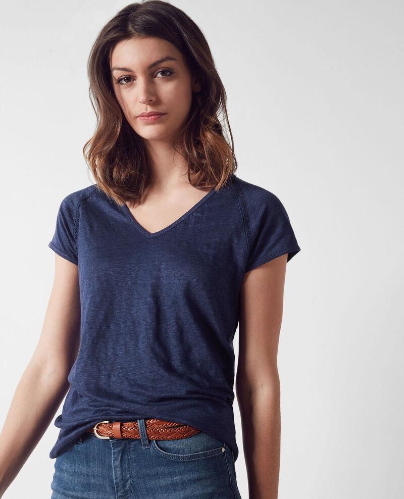 Leinen-T-Shirt Indigo Caramel