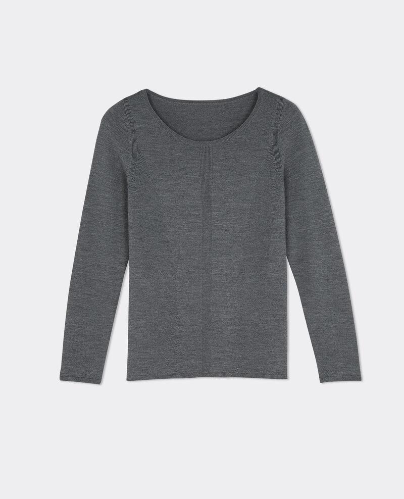 pull en laine merinos gris fonce boulbi comptoir des cotonniers. Black Bedroom Furniture Sets. Home Design Ideas