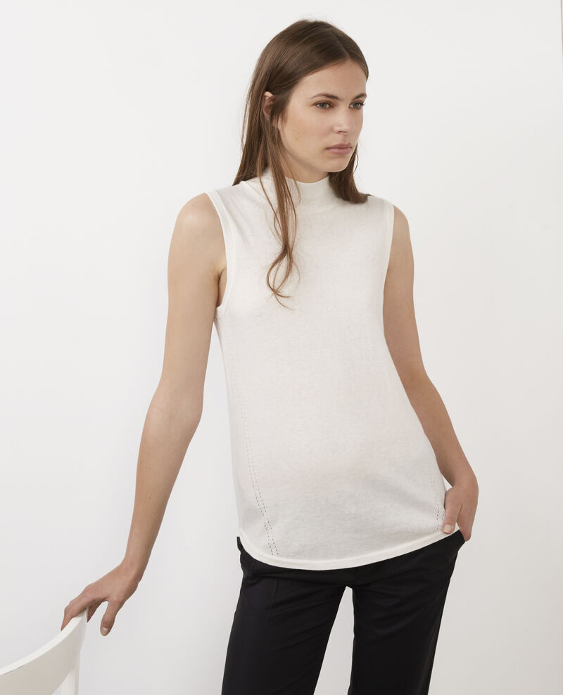 Sleeveless jumper with mock-turtleneck collar Off white Benoit