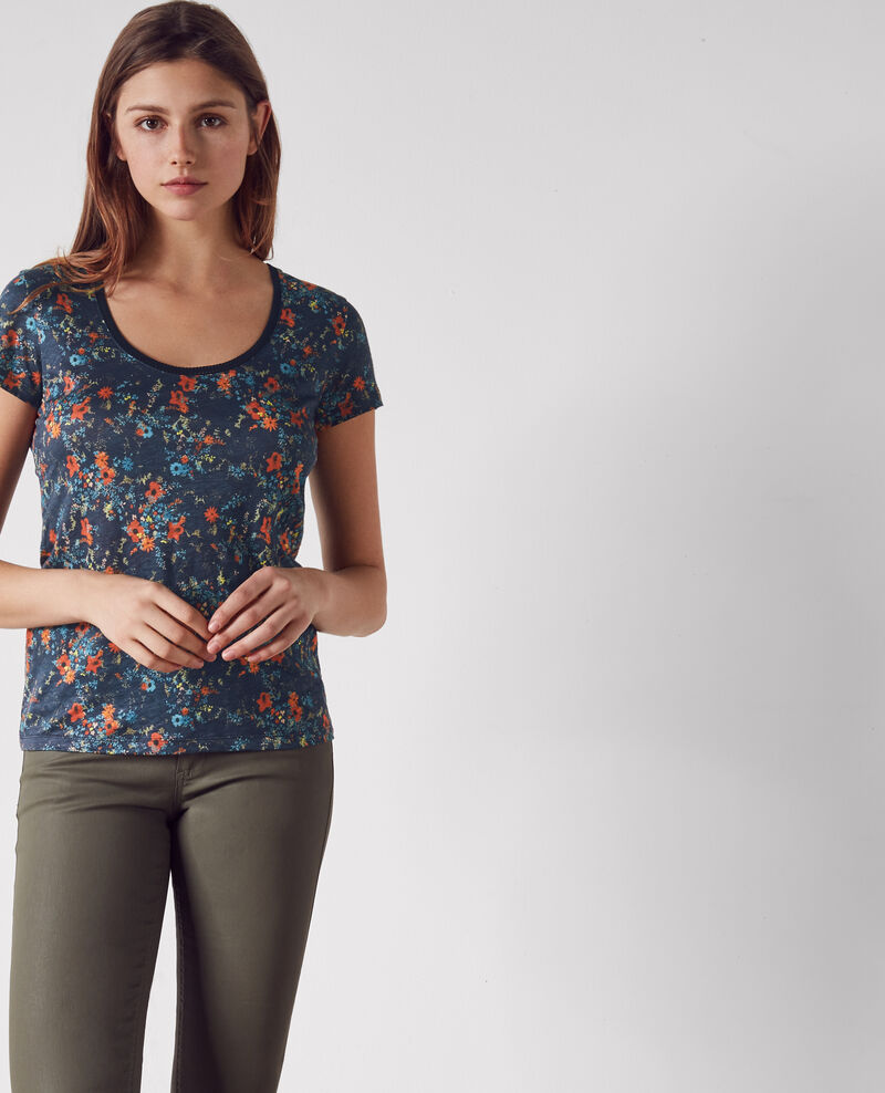 Printed linen T-shirt with embroidery detail Bouquet leaves dark navy Clafouti