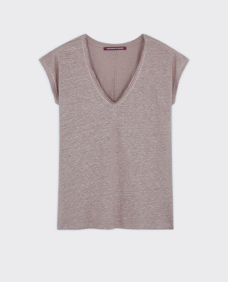 T-Shirt irisé en lin Moka Citron