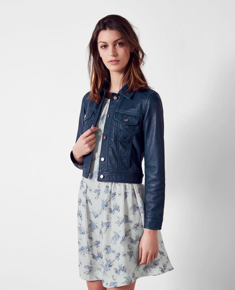 Veste courte en cuir fa on veste en jeans indigo 9cablo - Veste en cuir comptoir des cotonniers ...