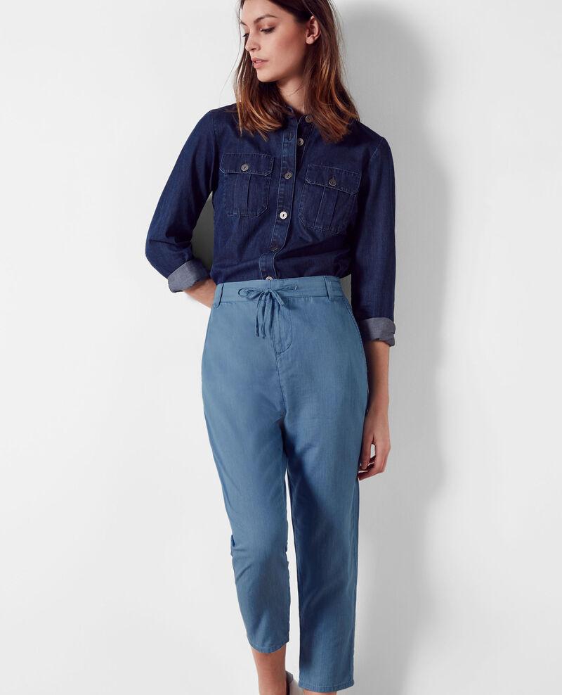Pantalon relax en denim Light blue - Creatif   Comptoir des Cotonniers