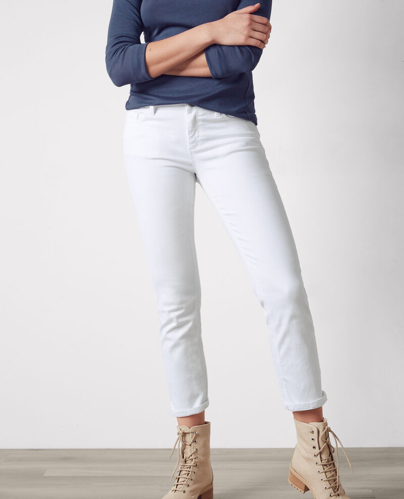 "Hip ""Fille dans le vent"" cropped straight jeans Off white Coyotte"