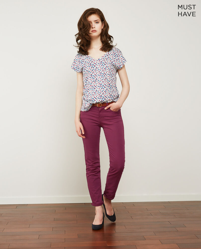Soft touch cigarette fit jeans Purple Dhanna