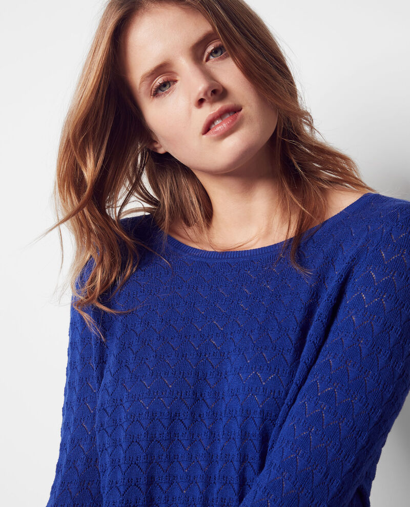 Openwork jumper with cashmere and trompe l'œil back Cobalt Cumin