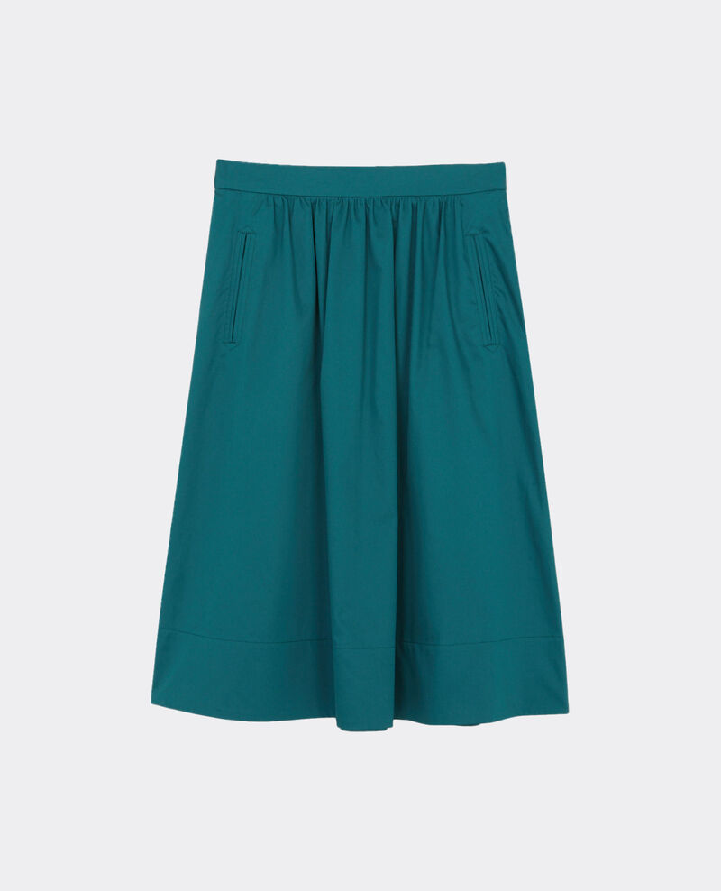 Jupe en satin de coton Jungle green Corgeat
