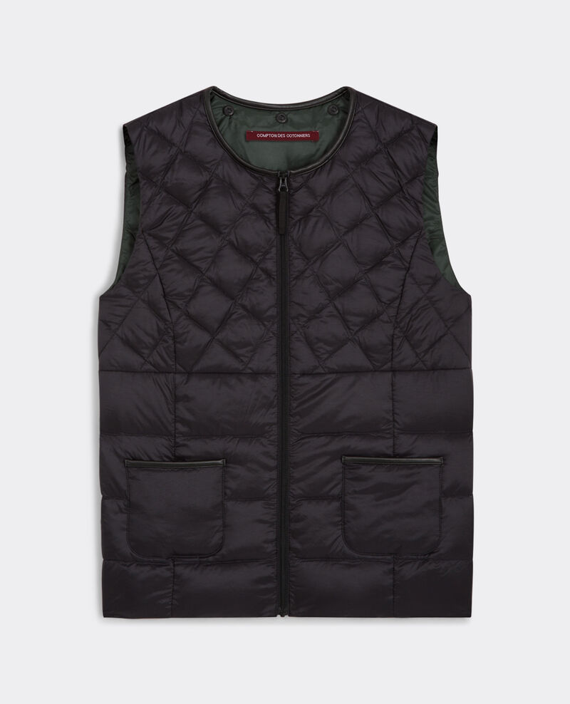 Reversible down vest with removable hood Noir/sapin Bastoche