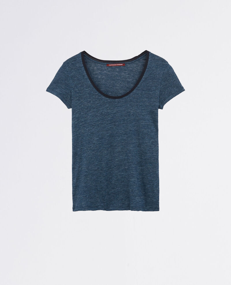 Camiseta de lino con escote bordado Indigo/midnight Carlton