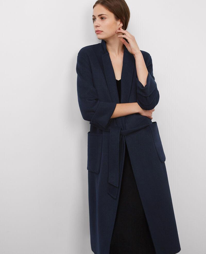 Manteau oversize avec laine dark ocean bille comptoir - Manteau cape comptoir des cotonniers ...