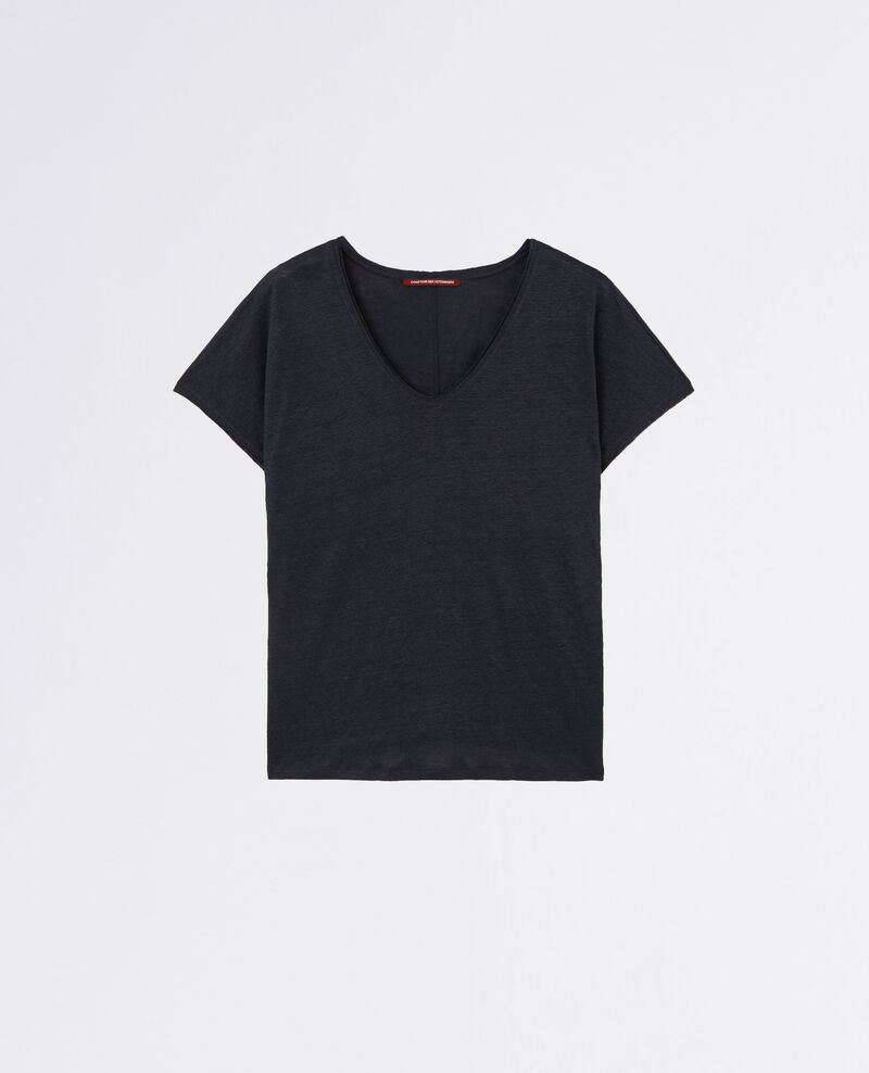 Linen t-shirt with lurex detail Dark navy Canaille