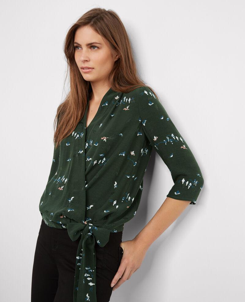 Blusa estampada con escote cruzado Birdy hunter green Bigcoeur