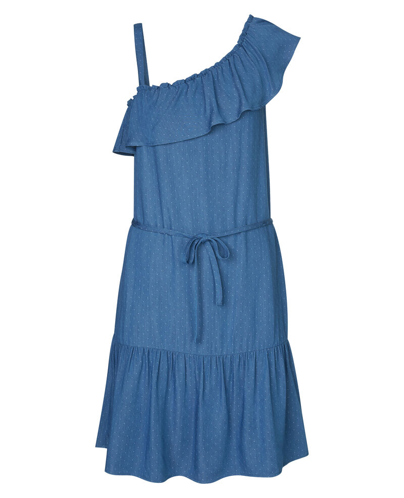 Robe asymétrique à volants Light blue Anorite