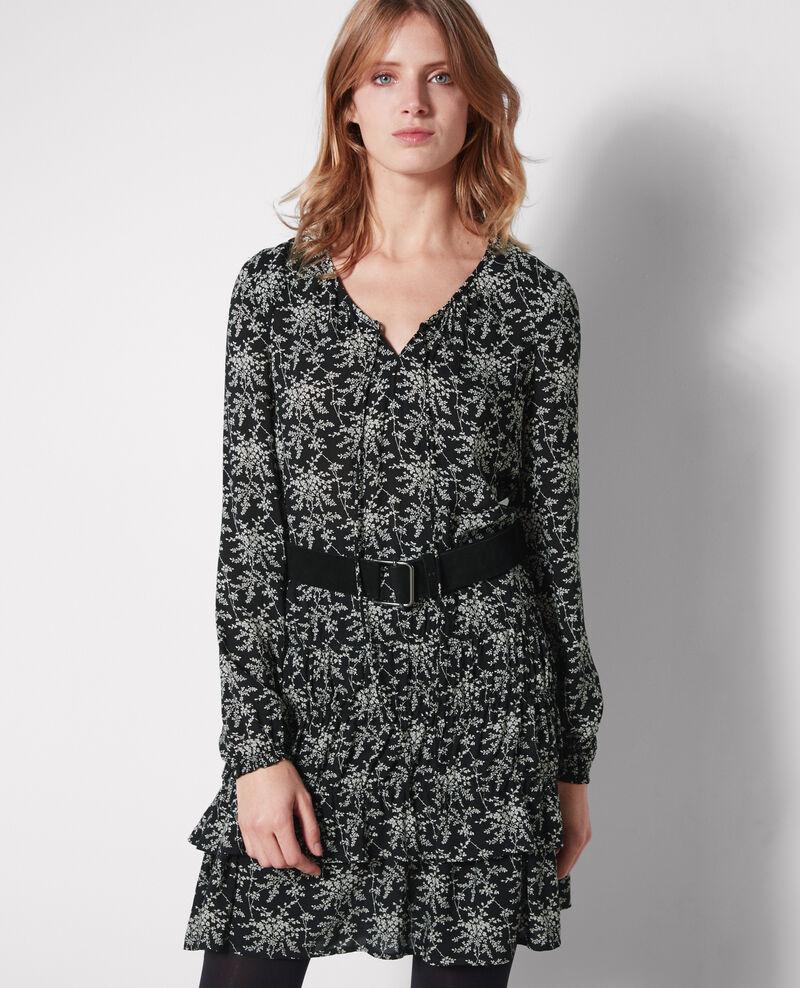 Robe volantée imprimée Romantic garden black Cachou