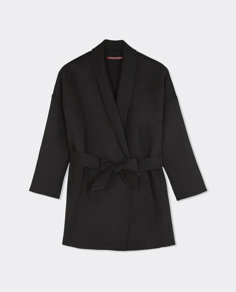 manteau avec laine noir bonbi comptoir des cotonniers. Black Bedroom Furniture Sets. Home Design Ideas