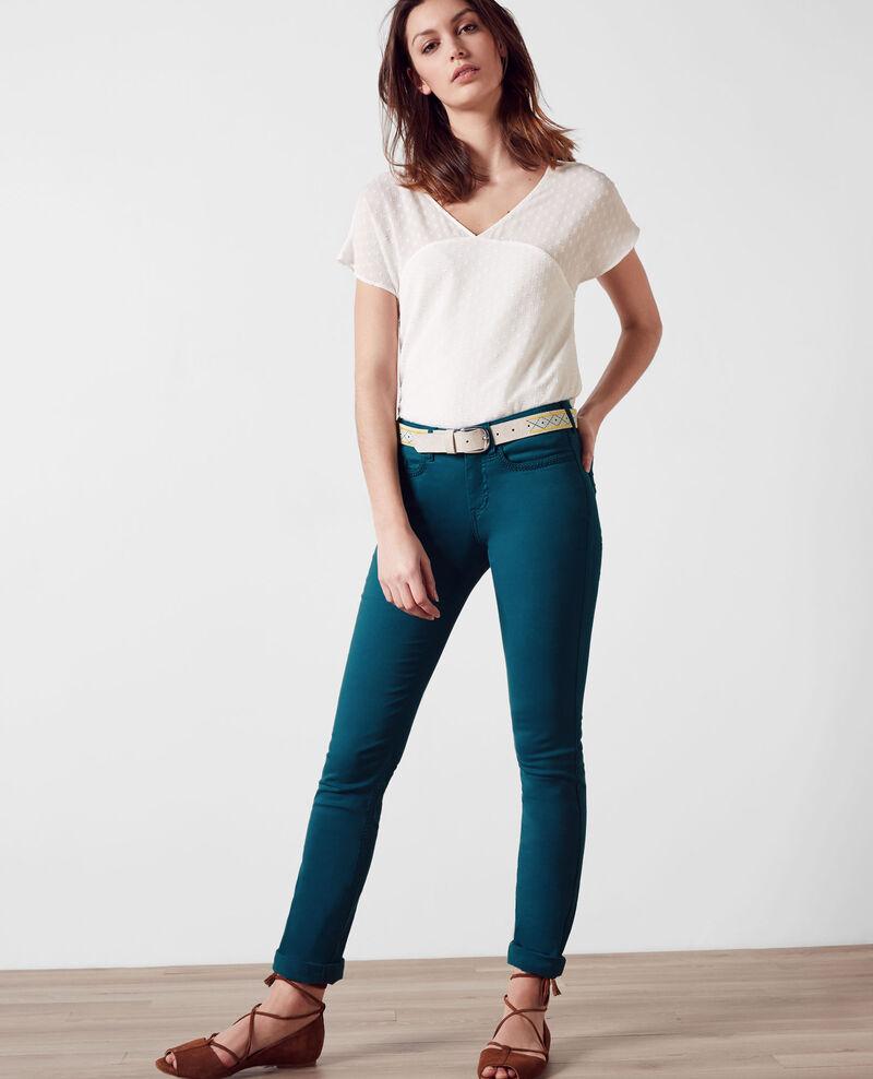 """Jeans rectos con efecto piel de melocotón """"Fille dans le vent"""" Berlin blue Cigogne"""