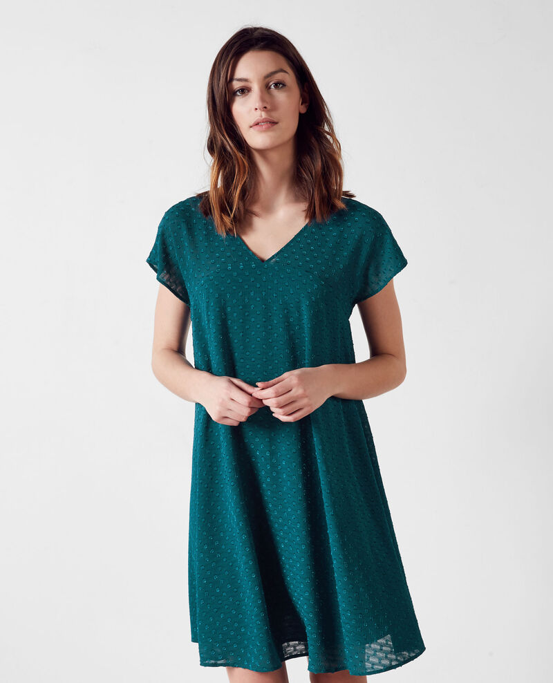Loose-fitting dress in dotted Swiss voile Berlin blue Ciflocka