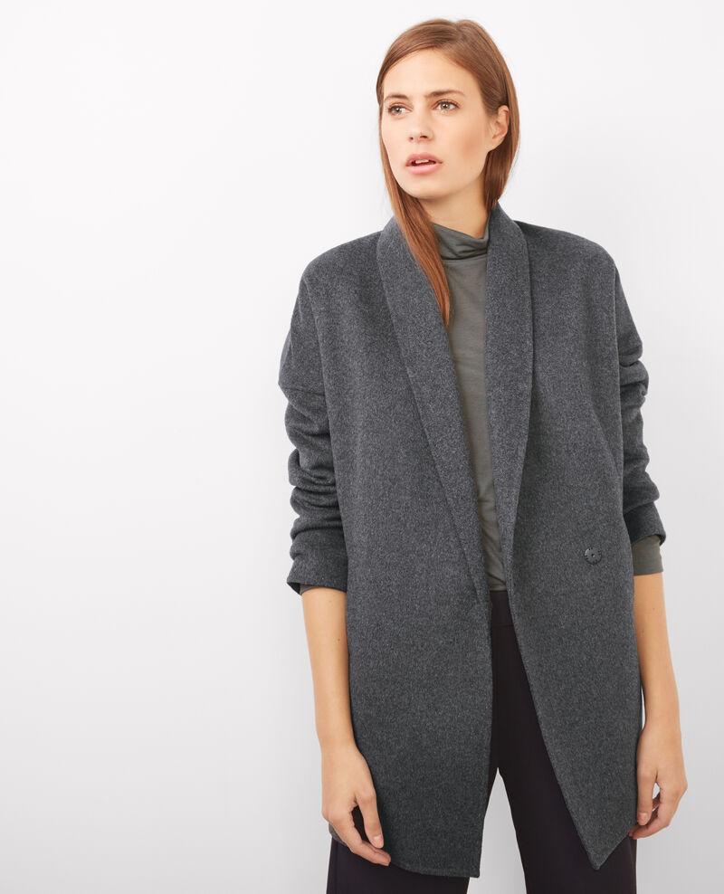Manteau avec laine dark heather grey bonbi comptoir - Manteau peau retournee comptoir des cotonniers ...