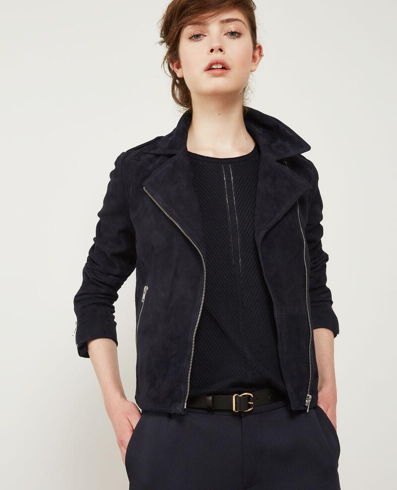 Leather jacket upkeep -  Suede Leather Jacket Dark Navy Decane