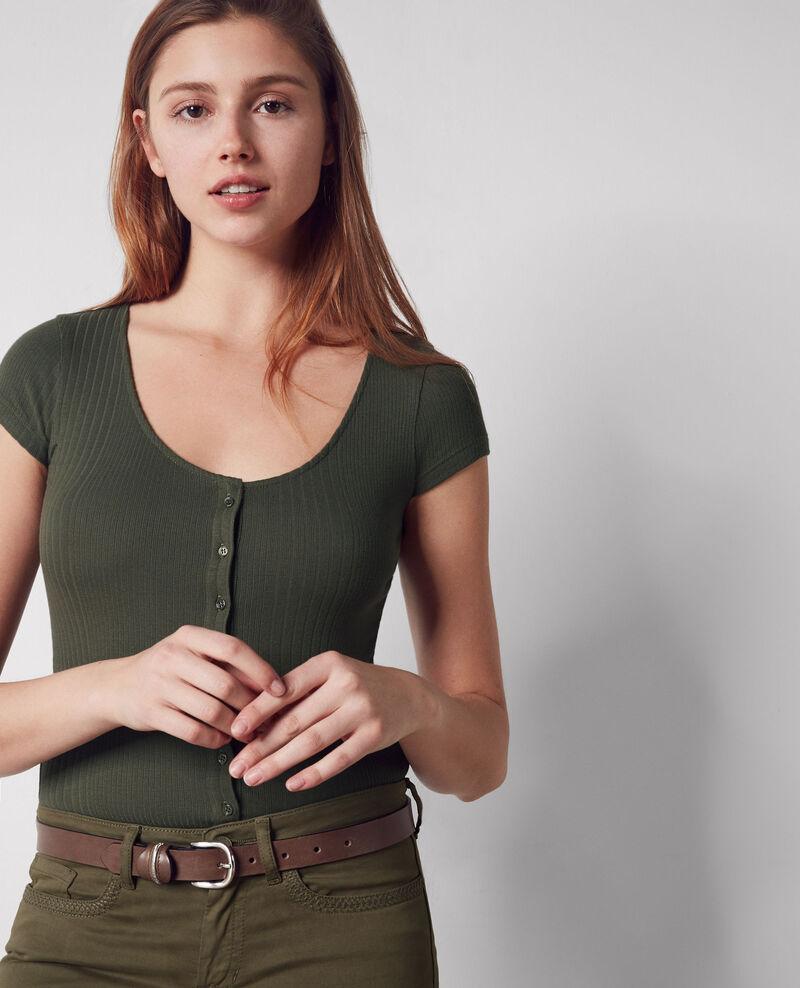 Camiseta con botones y ribete Army Cypres