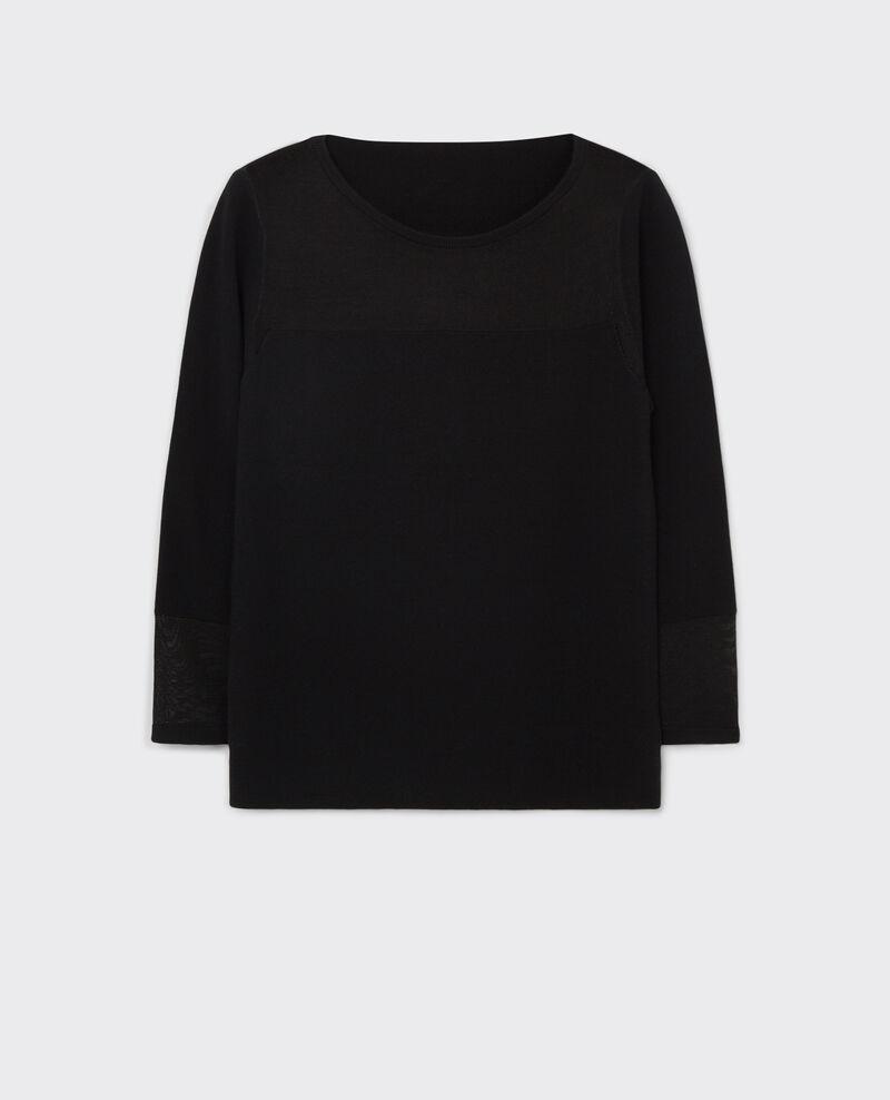 woll pullover mit u boot ausschnitt noir cirtaki. Black Bedroom Furniture Sets. Home Design Ideas