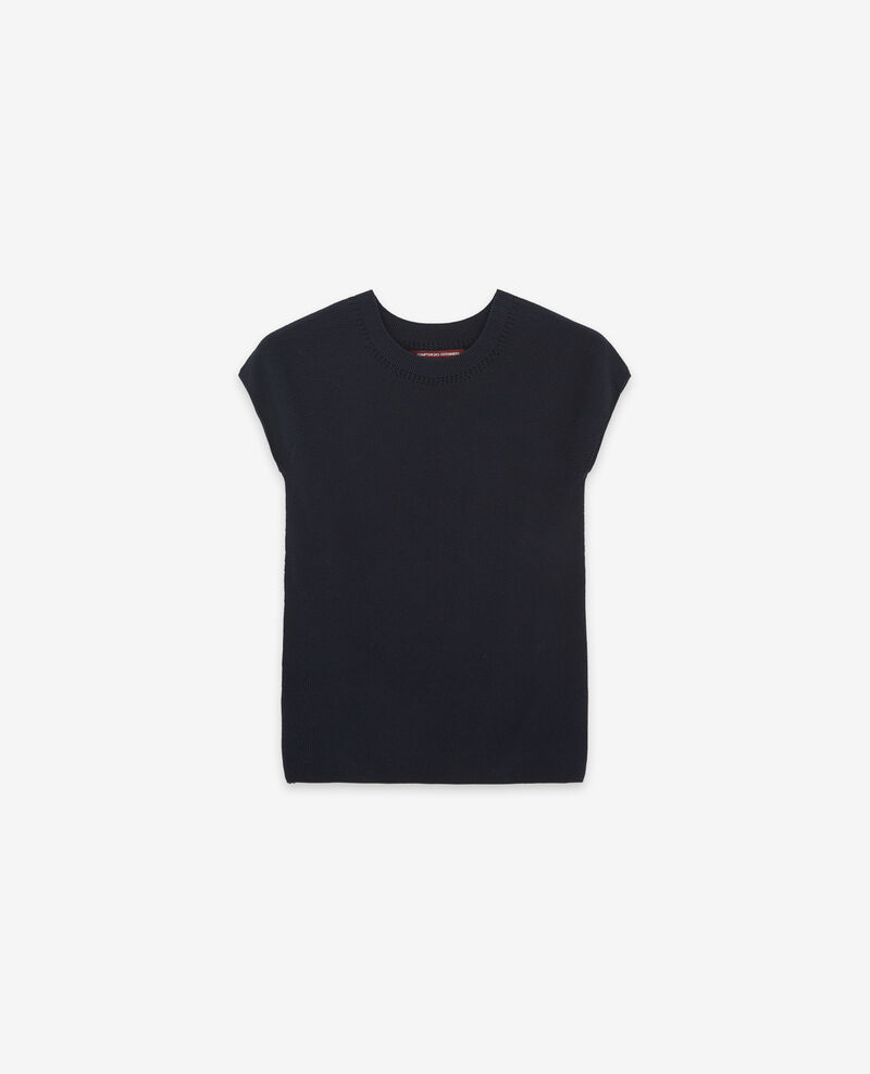 Seamless knitted short sleeve jumper Navy Dalande
