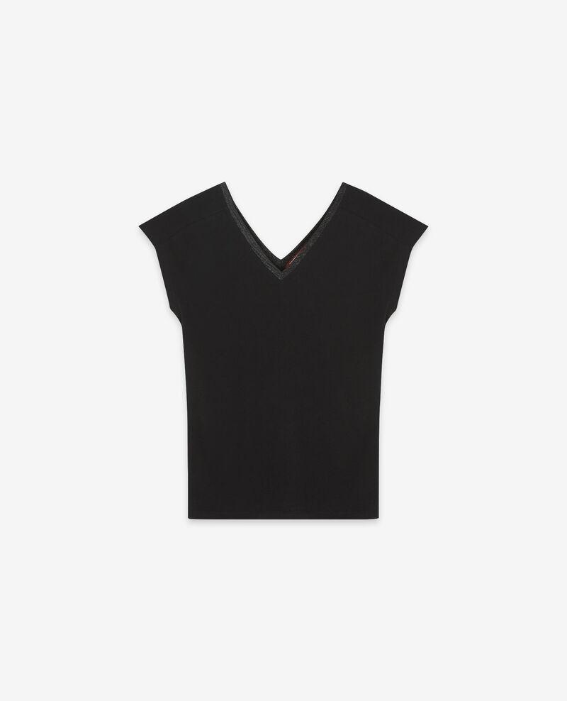 T-shirt avec détails de lurex Noir Dactylo