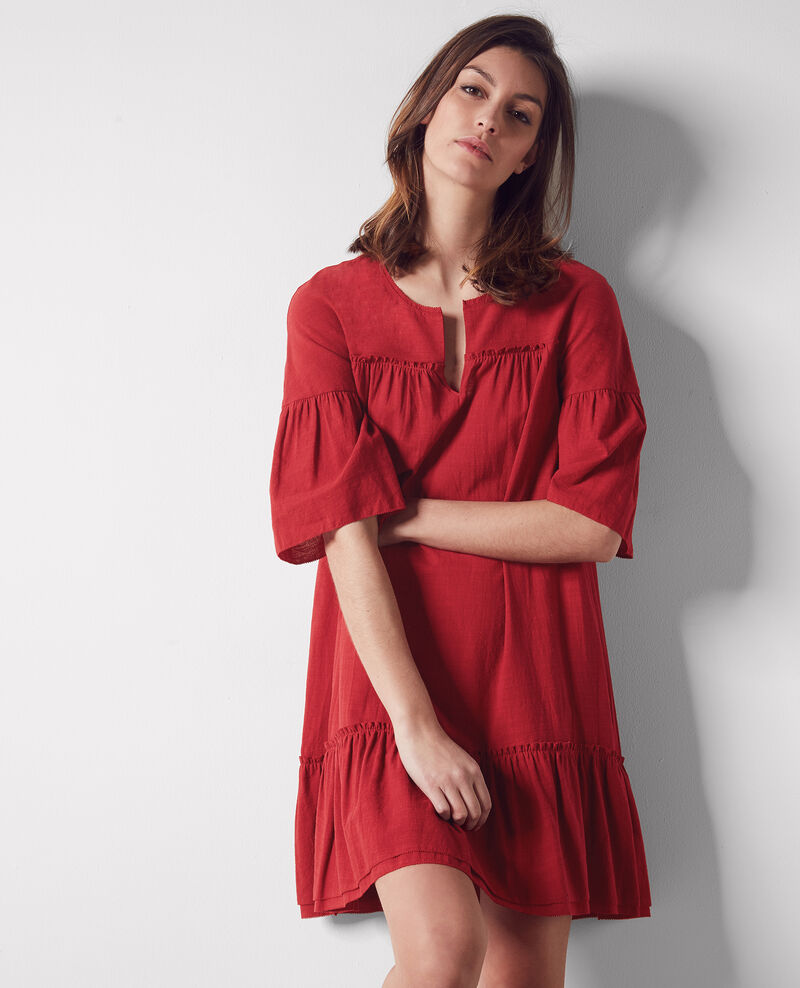 Loose dress with ruffles Raspberry Cindiana