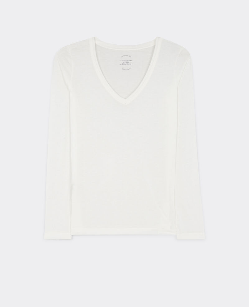 "Long sleeve ""my second skin by Comptoir"" t-shirt Off white Bastien"