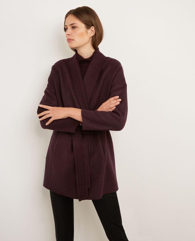 Manteau avec laine maroon bonbi comptoir des cotonniers - Manteau bi matiere comptoir des cotonniers ...
