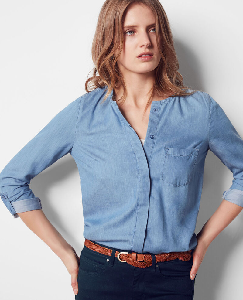 Loose blouse in Tencel denim Indigo Coccinelle