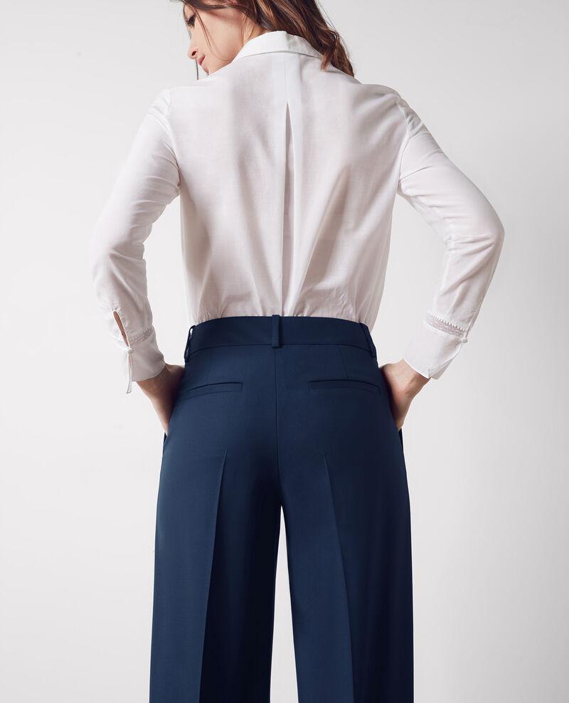 Pantalon office large en laine Midnight blue Crimee