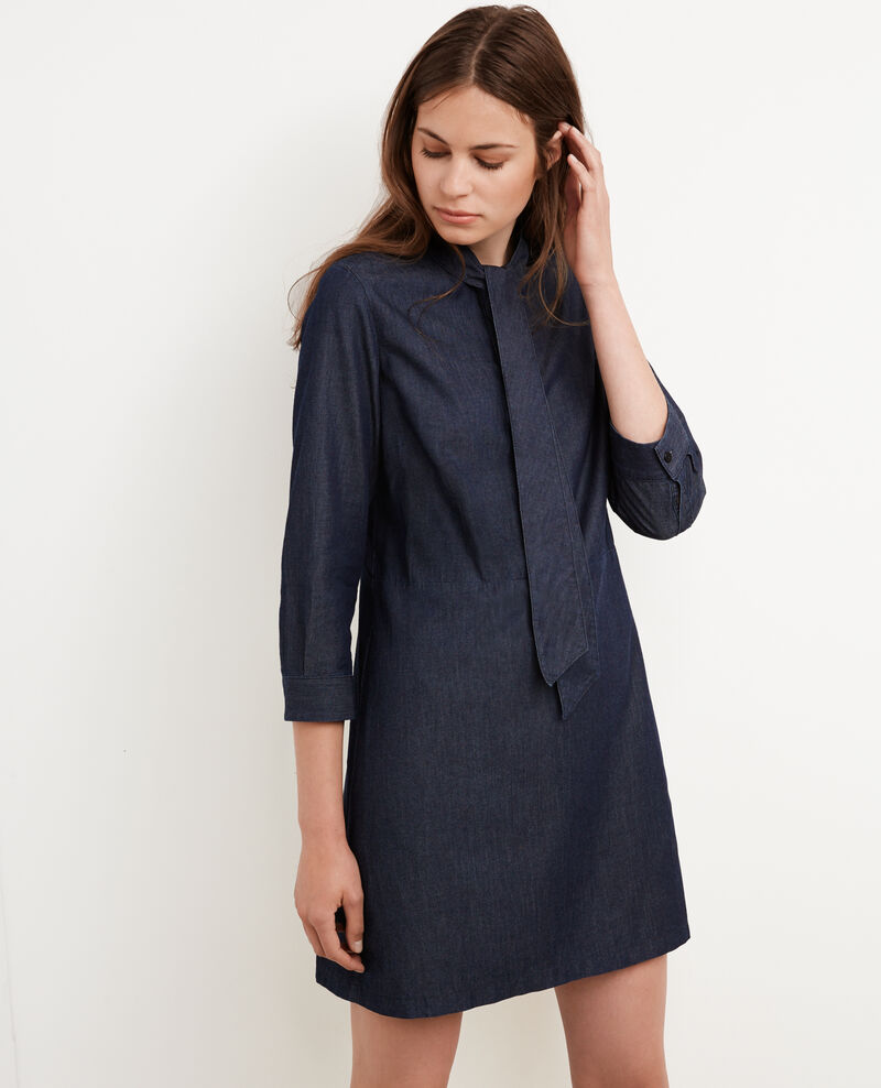 Robe en denim col lavalli re dark denim bigorneau - Robe col claudine comptoir des cotonniers ...