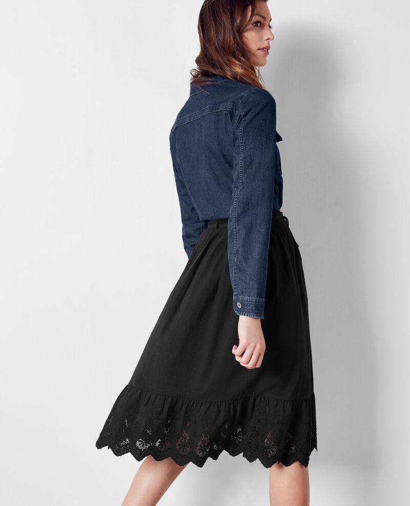 Falda con bordado inglés Noir Cathy