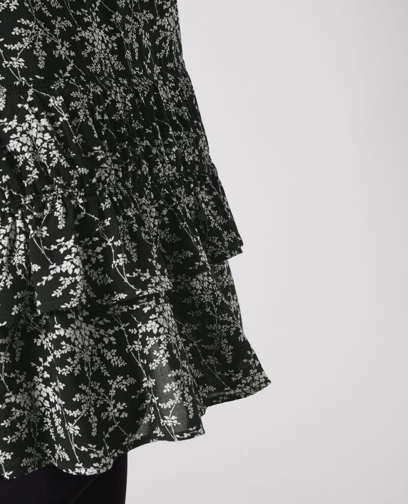Jupe mi-longue volantée et imprimée Romantic garden black Cachuche