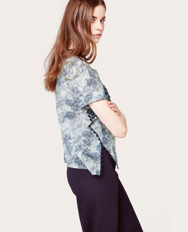 Blusa estampada y bordada Zephyr azur Alade