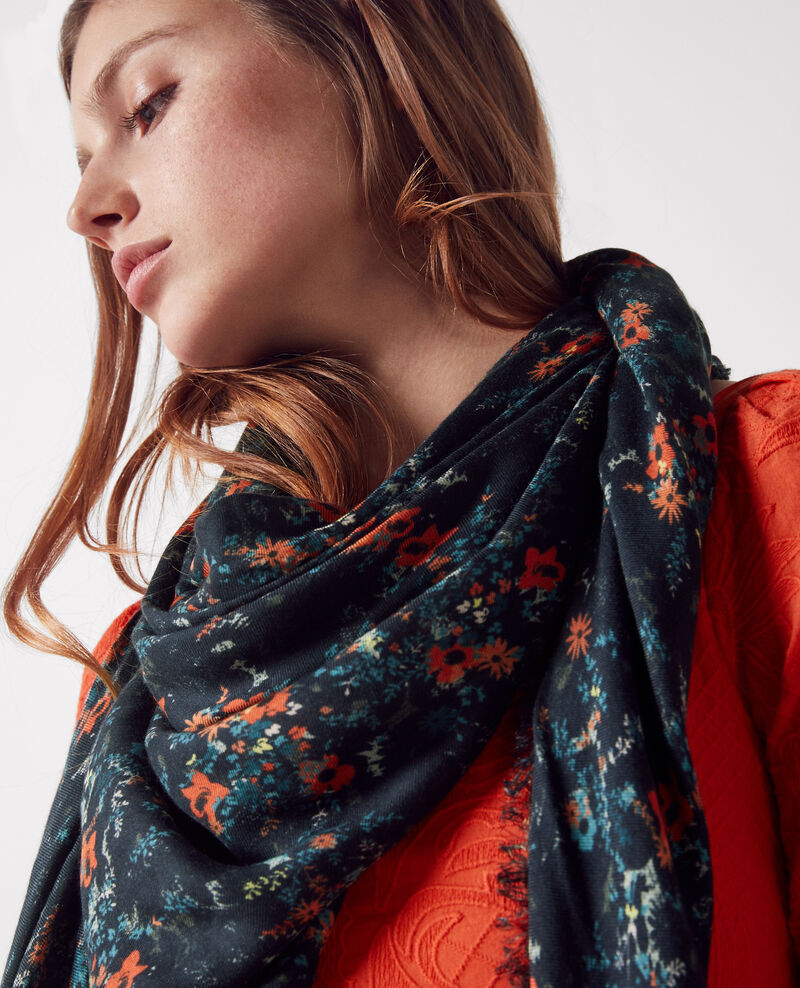 Foulard carré imprimé Bouquet leaves dark navy Callas