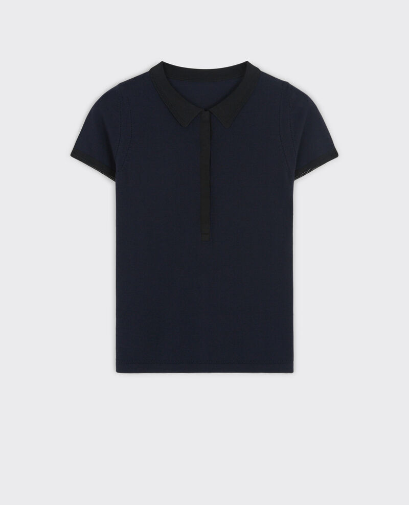 Polo fin en laine Dark navy/black Clou