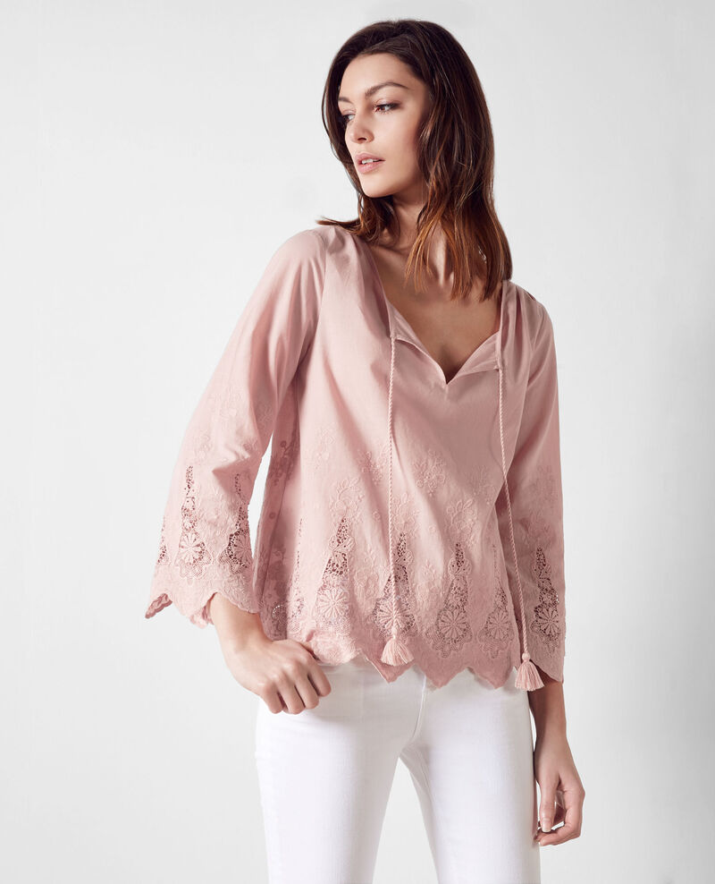 Embroidered cotton blouse Peach Cerge